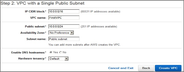 VPC with single subnet