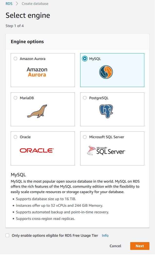 Amazon RDS - MySQL Creating DB