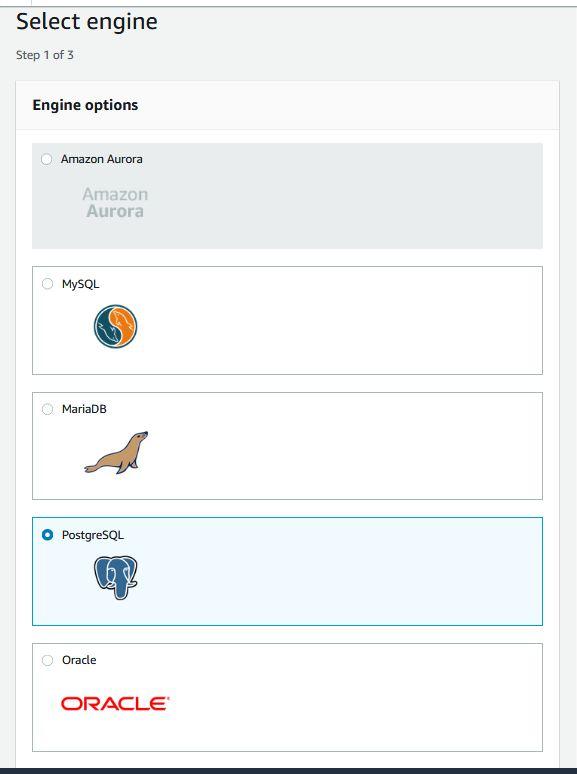 Amazon RDS - PostgresSQL creating DB