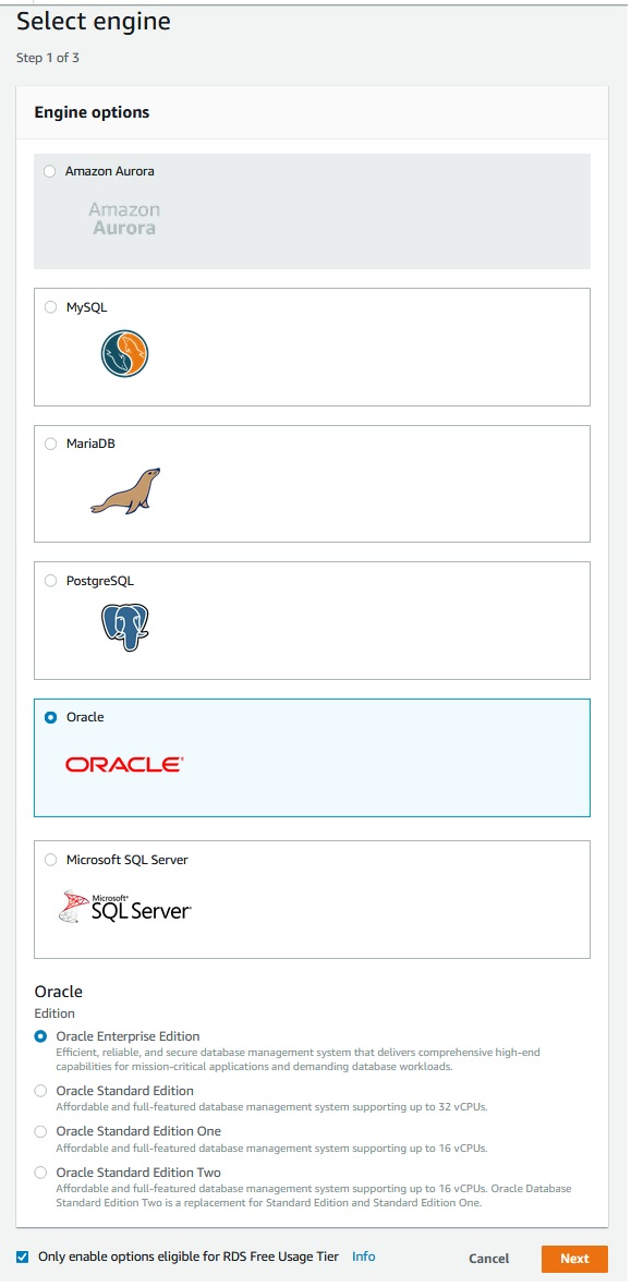 Amazon RDS - Oracle Creating DB