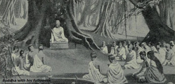Buddha with his followers