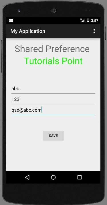 Anroid SharedPreferences Tutorial