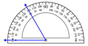 Measuring an angle with the protractor Worksheets Online Quiz 1.10