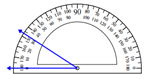 Measuring an angle with the protractor Worksheets Online Quiz 1.5