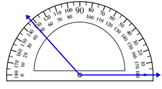 Measuring an angle with the protractor Worksheets Online Quiz 1.6