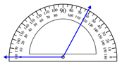 Measuring an angle with the protractor Worksheets Online Quiz 1.8