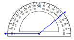 Measuring an angle with the protractor Worksheets Online Quiz 1.9