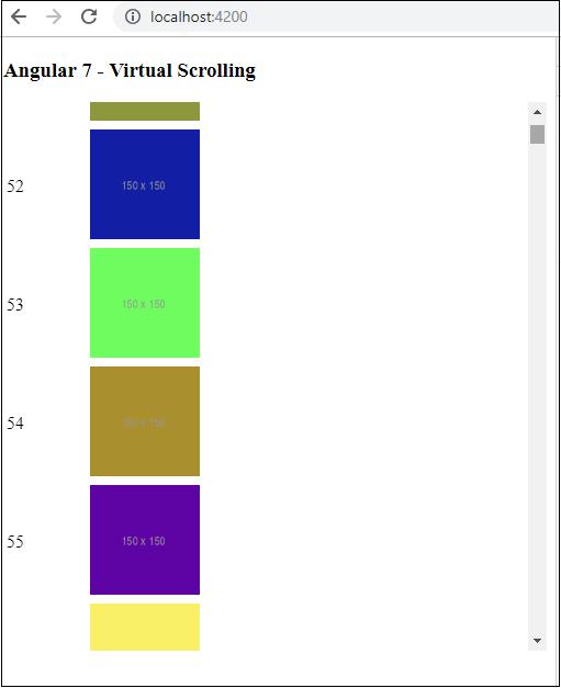 Angular7 - Materials/CDK-Virtual Scrolling - Tutorialspoint