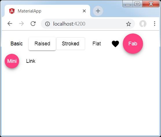 Angular Material 7 - Button - Tutorialspoint