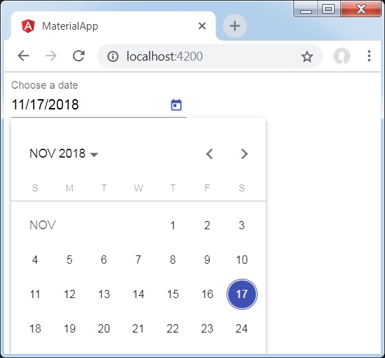 Angular Material 7 - DatePicker - Tutorialspoint
