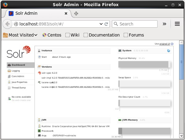 Interface Solr Admin