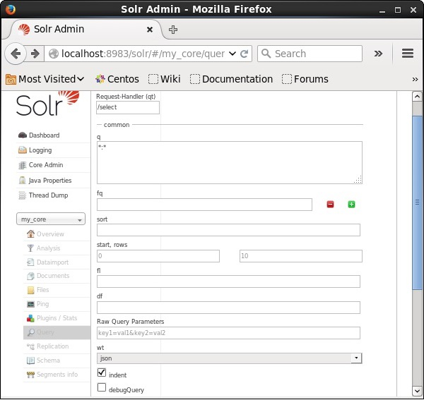 Visit The Homepage Of Apache Solr On Left Hand Side Page Click Option Query Here You Can See Fields For Parameters A
