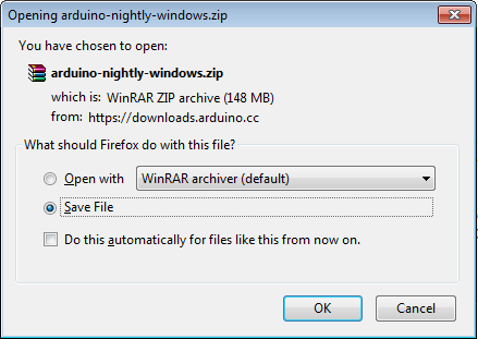 Opening Arduino Nightly Windows