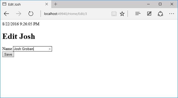 ASP NET Core - Razor Edit Form