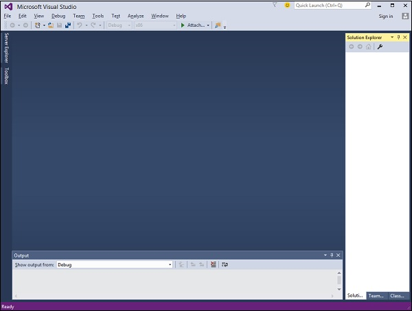 Main Window Visual Studio