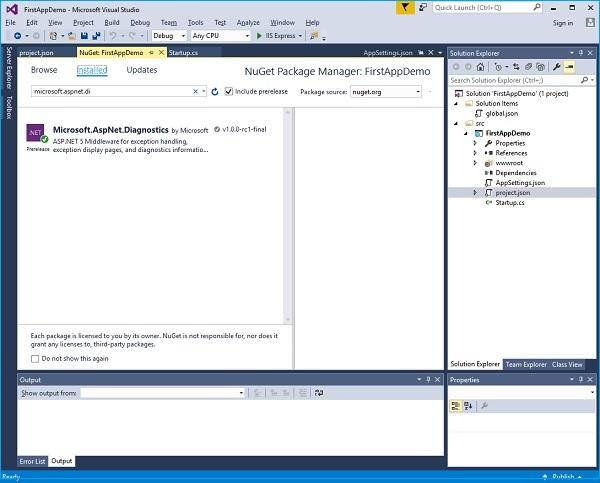 Microsoft AspNet Diagnostics