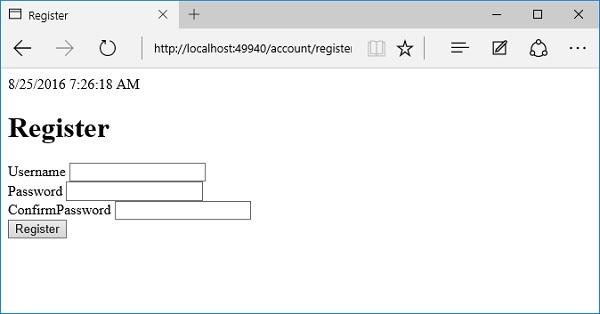 ASP NET Core - Create a User - Tutorialspoint