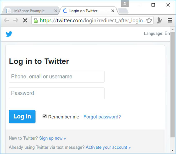 Log In To Twitter