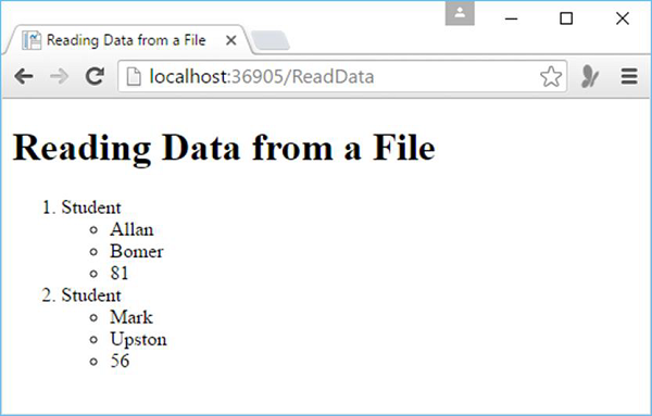Reading Data File