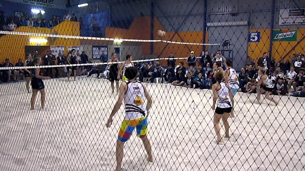 "sand vs indoor volleyball Avp, olympic indoor and beach, ncaa men and women men's net height - 243 meters or 8' women's net height - 224 meters or 7'4"" contact with net permitted as long as it does not interfere with play."