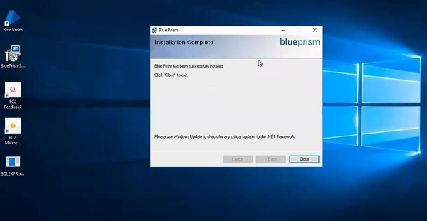 Blueprism Installation Completed