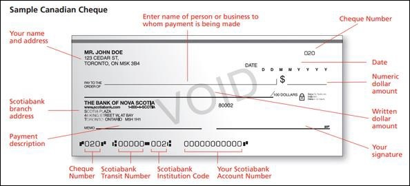 Sample Canadian Cheque