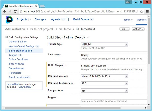 Build Configuration Settings Click Save