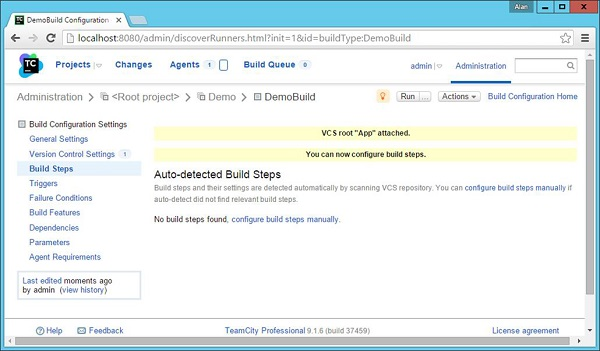Configure Build Steps Manually