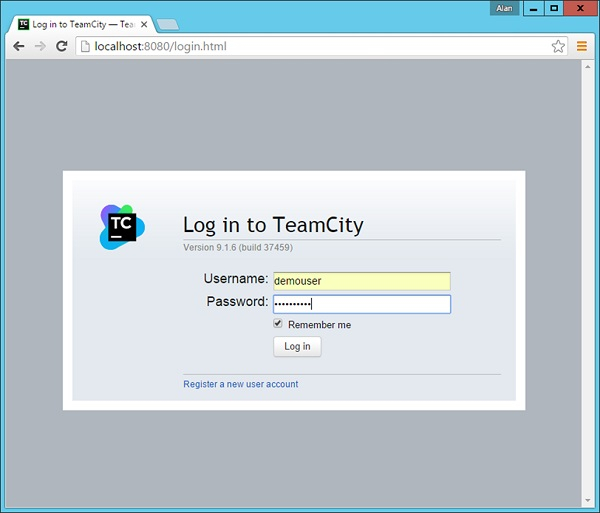 Team City User Id and Password