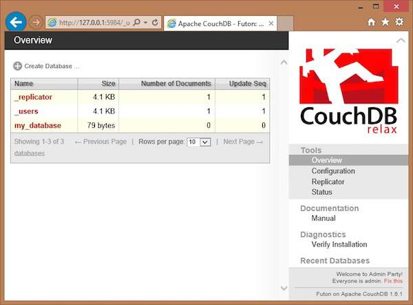 futon homepage couchdb curl and futon  rh   tutorialspoint