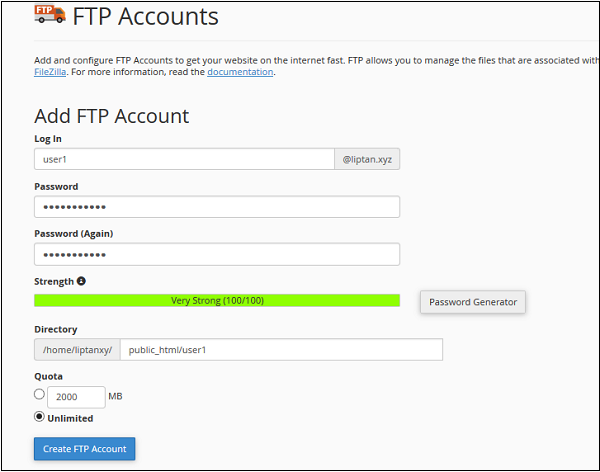Add FTP Accounts