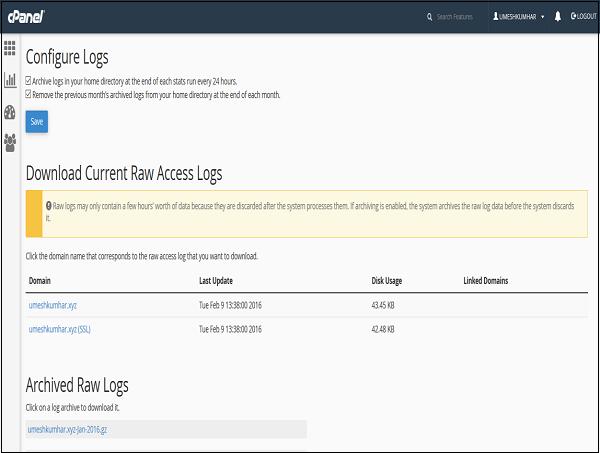 cPanel Configure Logs