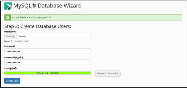 Create Database Wizard