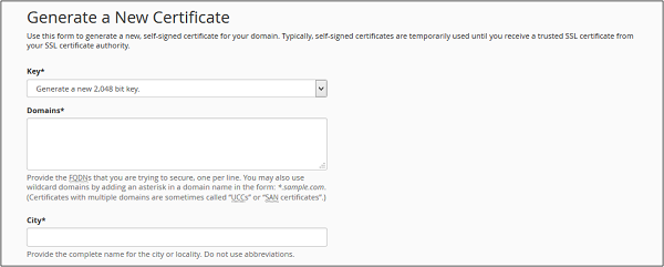 Generate New Certificate