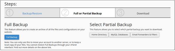 cPanel - Backup Wizard - Tutorialspoint