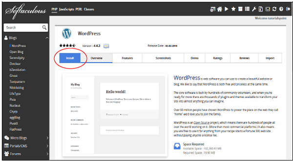 cPanel - Installing WordPress