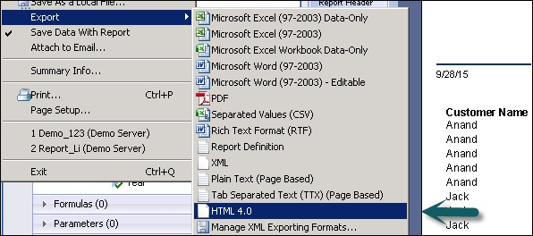 Data Export to HTML