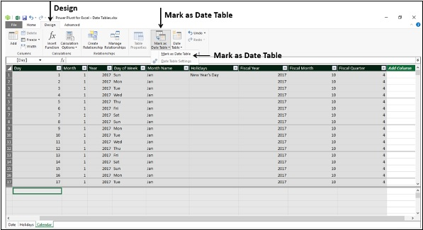 Setting the Date Table Property
