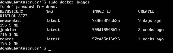 Dostępne w systemie obrazy Dockera