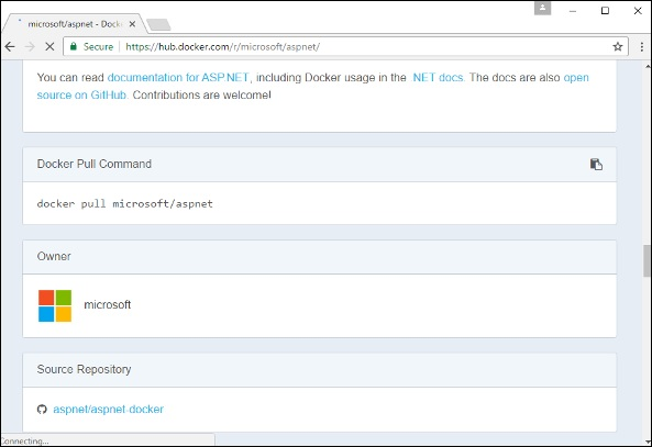 Docker Pull Command for ASPNET