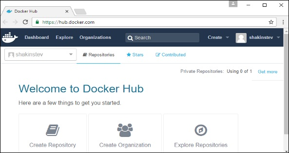 Logged into Docker Hub