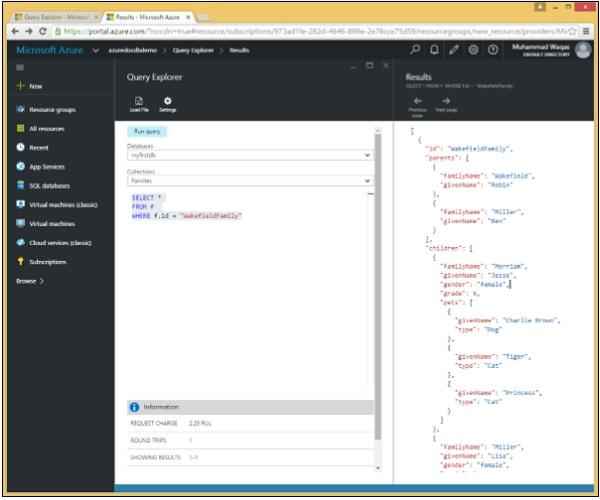 DocumentDB SQL - Quick Guide