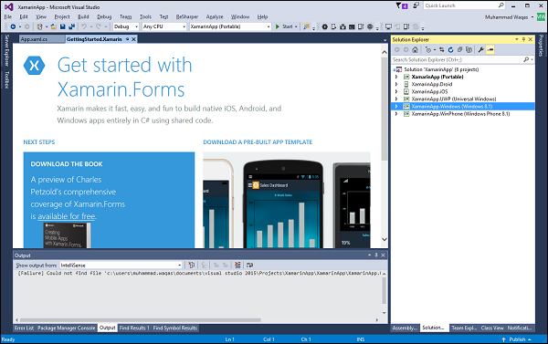 Creating a Xamarin Forms Project - Tutorialspoint