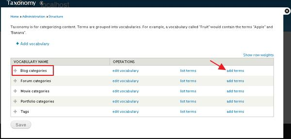 drupal create categories