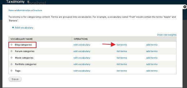 drupal create categories