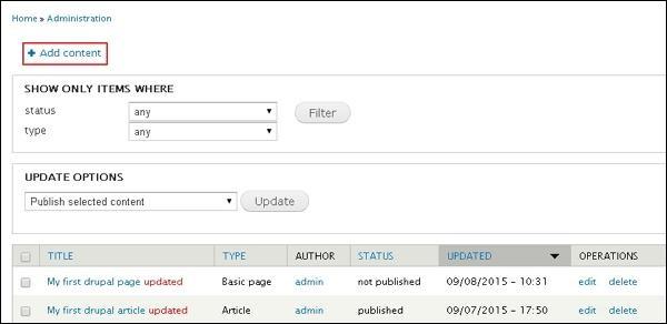 drupal create pages