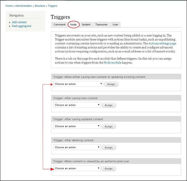 Drupal Triggers and Actions