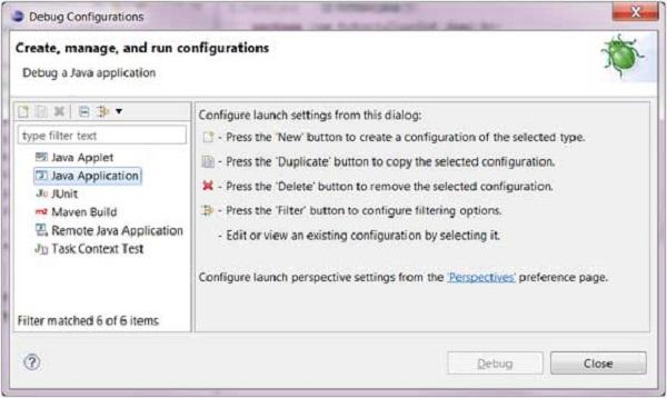 Eclipse - Debug Configuration - Tutorialspoint