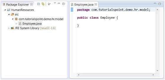 Eclipse - Create Java Class - Tutorialspoint