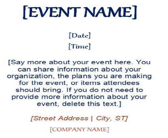 Exceptional Event Name  Invitation Event Sample
